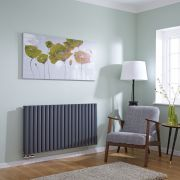 Milano Aruba Flow - Anthracite Horizontal Double Middle Connection Designer Radiator 635 x 1180mm