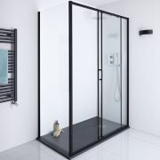 Milano Nero Shower Enclosure Side Panel Black - 900mm x 1950mm