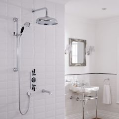 Hudson Reed Triple Three Outlet Traditional Shower with Head, Slide Rail and Spout - Chrome/Black