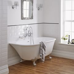 Milano Back To Wall 1550mm Contemporary Freestanding Bath With Choice of Feet