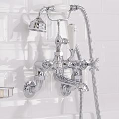 Hudson Reed Topaz White Crosshead Wall Mounted Bath Shower Mixer with Shower Kit