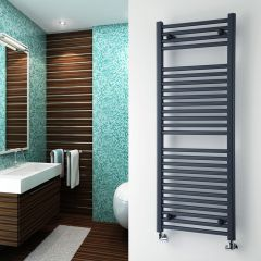 Milano Brook - Anthracite Flat Bathroom Heated Towel Radiator Rail 1200mm x 500mm