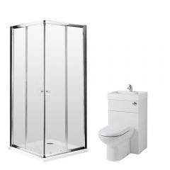 Milano 800mm Corner Entry En Suite Set With Combination Toilet & Basin Unit & Tap & Waste