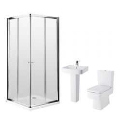Milano 900mm Bliss Corner Entry En Suite Bathroom Set With & Tap & Waste
