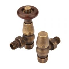Milano Windsor Traditional Thermostatic Angled Radiator Valves Brass (Pair)