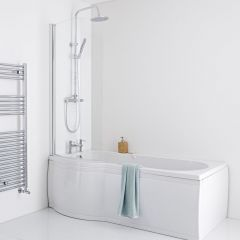 Milano Newby 1675mm P Shape Curved Shower Bath Panels & Screen - Left Hand