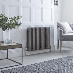 Milano Windsor - 3 Column Radiator - Raw Metal Lacquered 600mm x 789mm