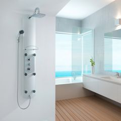 Milano Thermostatic Aluminium Shower Tower with 6 Body Jets