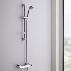 Milano Thermostatic Square Bar Shower Valve With Multifunction Slide Rail Kit