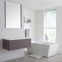 Milano Oxley - 1000mm Grey Vanity Unit with White Top