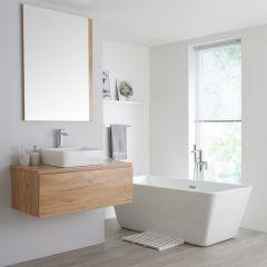 Milano Oxley - 1000mm Modern Vanity Unit with Countertop Basin - Golden Oak