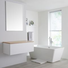 Milano Oxley - 1000mm White Vanity Unit with Oak Top