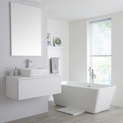 Milano Oxley - 1000mm Modern Vanity Unit with Countertop Basin - Matt White