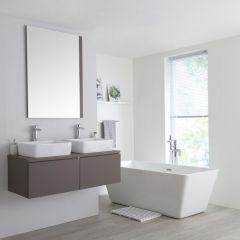 Milano Oxley - 1200mm Modern Vanity Unit with Twin Countertop Basin - Matt Grey