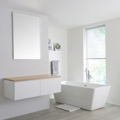 Milano Oxley - 1200mm White Vanity Unit with Oak Top