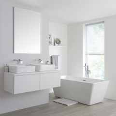 Milano Oxley - 1200mm Modern Vanity Unit with Twin Countertop Basin - Matt White