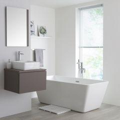 Milano Oxley - 600mm Modern Vanity Unit with Square Countertop Basin - Matt Grey
