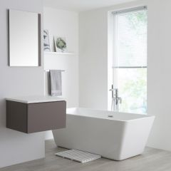 Milano Oxley - 600mm  Grey Vanity Unit with White Top