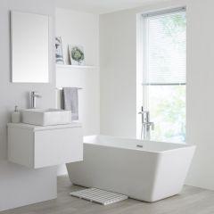 Milano Oxley - 600mm Modern Vanity Unit with Square Countertop Basin - Matt White