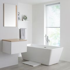 Milano Oxley - 600mm  White Vanity unit with Oak Top