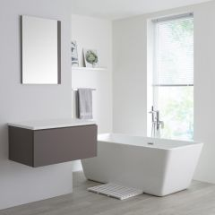Milano Oxley - 800mm Grey Vanity Unit with White Top