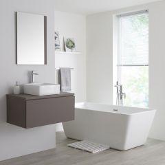 Milano Oxley - 800mm Modern Vanity Unit with Square Countertop Basin - Matt Grey