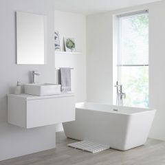 Milano Oxley - 800mm Modern Vanity Unit with Square Countertop Basin - Matt White