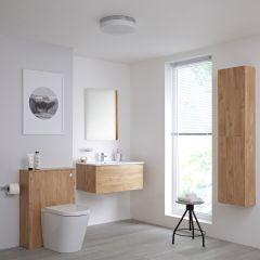 Milano Oxley 800mm Vanity Unit with WC Unit, Storage Unit and Mirror - Golden Oak