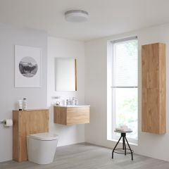 Milano Oxley 600mm Vanity Unit with WC Unit, Storage Unit and Mirror - Golden Oak