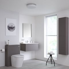 Milano Oxley 800mm Vanity Unit with WC Unit, Storage Unit and Mirror - Matt Grey
