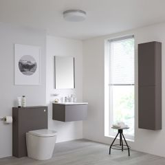Milano Oxley 600mm Vanity Unit with WC Unit, Storage Unit and Mirror - Matt Grey