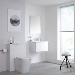 Milano Oxley 600mm Vanity Unit with Basin, WC Unit and Back to Wall Pan - Matt White