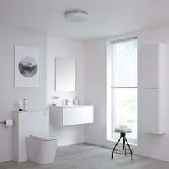 Milano Oxley 800mm Vanity Unit with WC Unit, Storage Unit and Mirror - Matt White