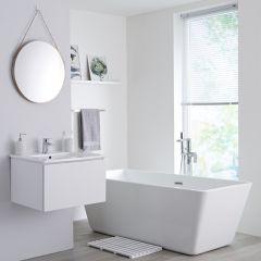 Milano Oxley - 600mm Modern Vanity Unit with Basin - Matt White