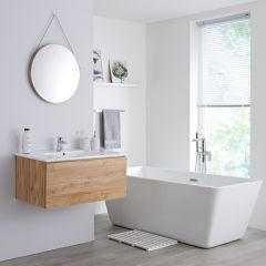 Milano Oxley - 800mm Modern Vanity Unit with Basin - Golden Oak