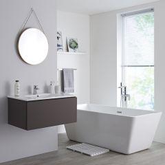 Milano Oxley - 800mm Modern Vanity Unit with Basin - Matt Grey