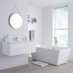 Milano Oxley - 1000mm Modern Vanity Unit with Basin - Matt White