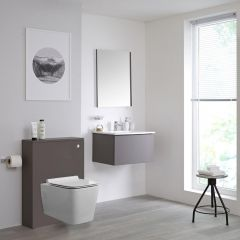 Milano Oxley - 600mm Modern WC Unit with Square Wall Hung Toilet - Matt Grey