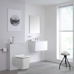 Milano Oxley - 600mm Modern WC Unit with Square Wall Hung Toilet - Matt White