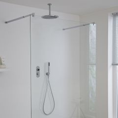 Milano Vis Two Outlet Digital Thermostatic Shower with Round Ceiling Mounted Head and Handset