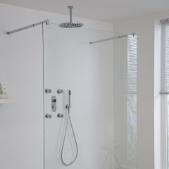Milano Vis Three Outlet Digital Shower, Round Ceiling Mounted Head, Body Jets and Handset