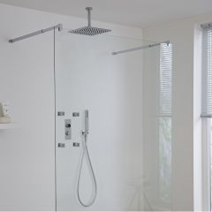 Milano Vis Three Outlet Digital Thermostatic Shower with Square Ceiling Shower Head and Body Jets