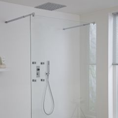 Milano Vis Three Outlet Digital Thermostatic Shower with 500mm Square Recessed Shower Head and Body Jets