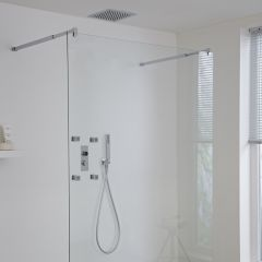 Milano Vis Three Outlet Digital Thermostatic Shower with 280mm square recessed shower head & body jets