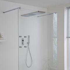Milano Vis Three Outlet Digital Thermostatic Shower with Glass Grabbing Shower Head and Body Jets