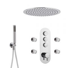 Milano Orta - 3 Outlet Push Button Shower Valve, Handset, Round Recessed Head and Body Jets