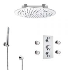 Milano Round Triple Diverter Thermostatic Valve, 400mm Recessed Head, Handset, Body Jets