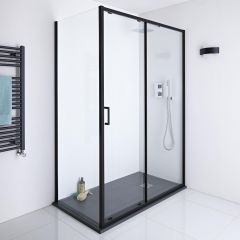 Milano Nero 1400mm Shower Sliding Door, 900mm Side Panel & Tray