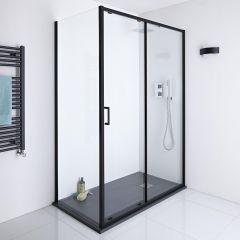 Milano Nero 1700mm Shower Sliding Door, 900mm Side Panel & Tray