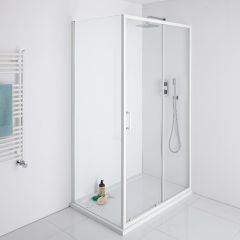 Milano Bianco 1100mm Shower Sliding Door, 760mm Side Panel & Tray
